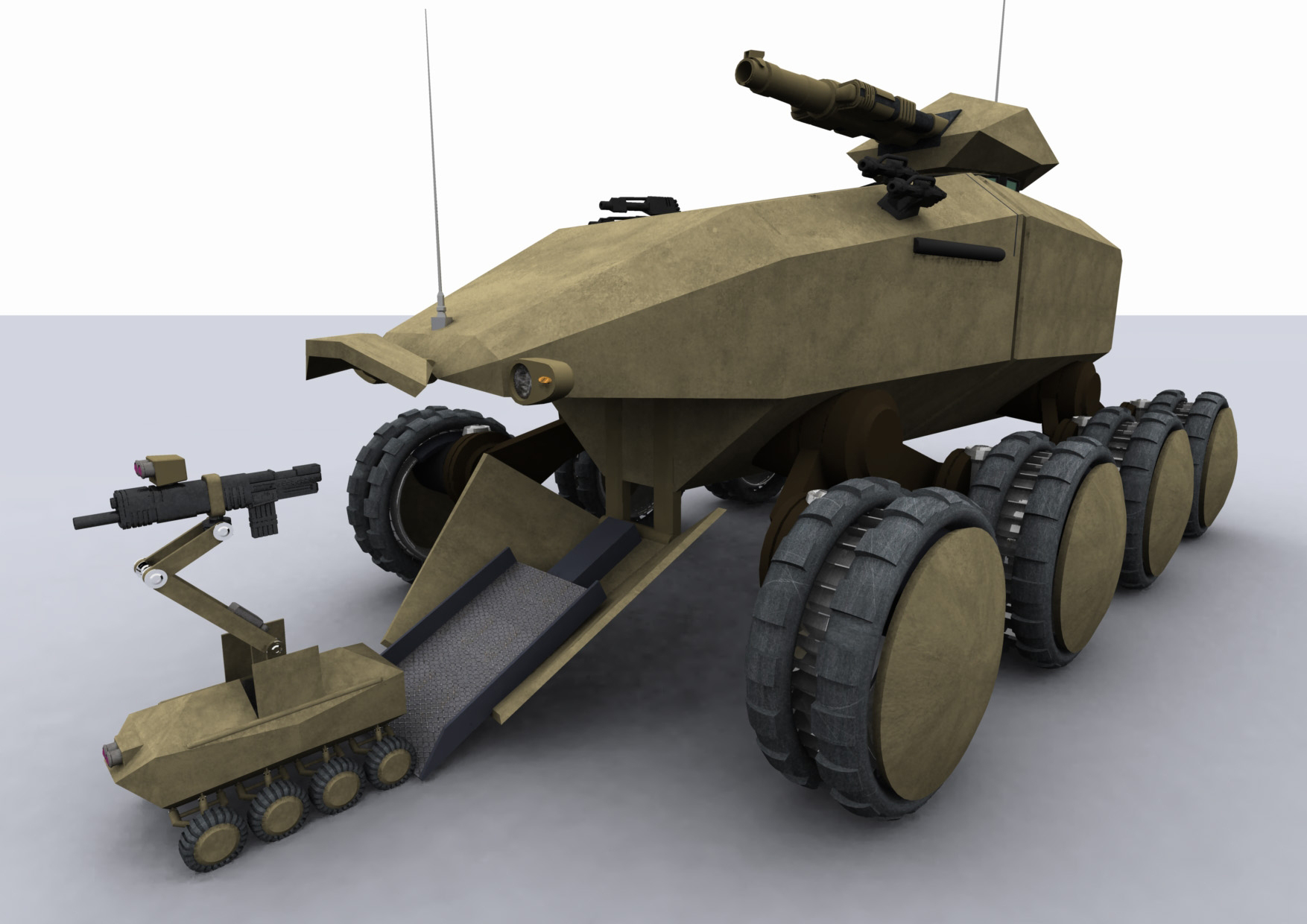 A computer graphic simulation of a Future Protected Vehicle called Drone (MOD image library)